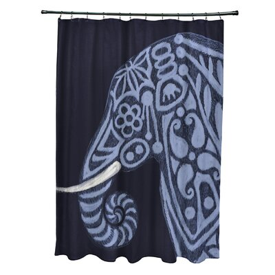 Atilla Inky Safari Print Shower Curtain Color: Gray/Gold