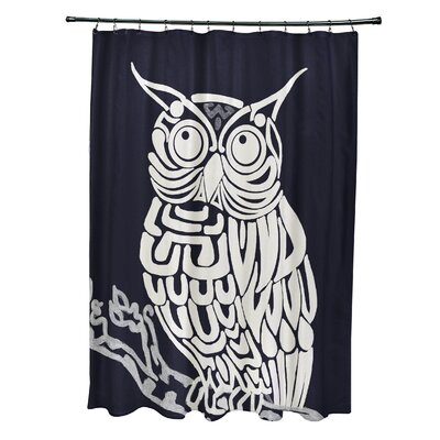 LOasis Hootie Bird Print Shower Curtain Color: Navy Blue