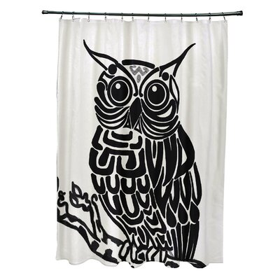 Hootie Bird Print Shower Curtain with 12 Button Holes Color: Off White/Black