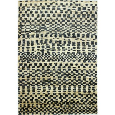 Marche Hand-Knotted Ivory/Black Area Rug Rug Size: 76 x 96