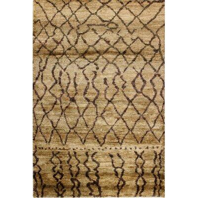 Marikiti Hand-Knotted Beige Area Rug Rug Size: 5 x 76