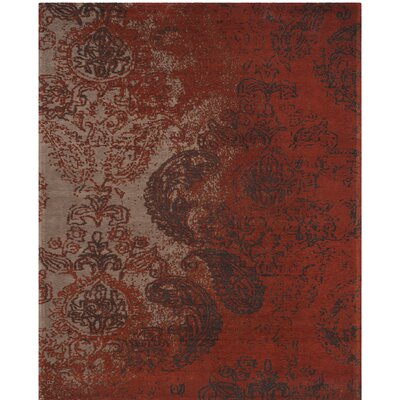Khattabi Red/Brown Area Rug Rug Size: Round 6