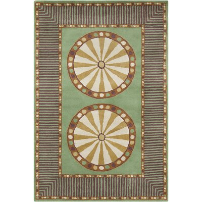 Fortson Hand Tufted Wool Green/Cream Area Rug