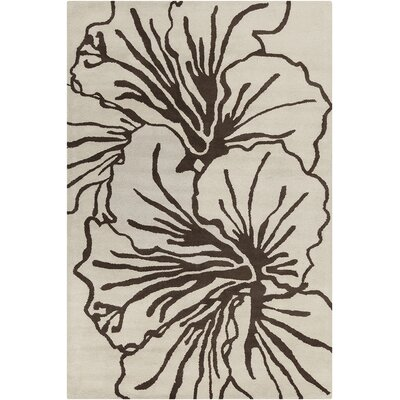Sali Hand Tufted Wool Beige/Dark Brown Area Rug