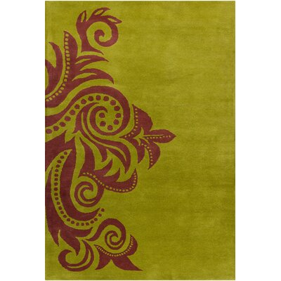 Fortson Hand Tufted Wool Green/Brown Area Rug Rug Size: 5 x 76