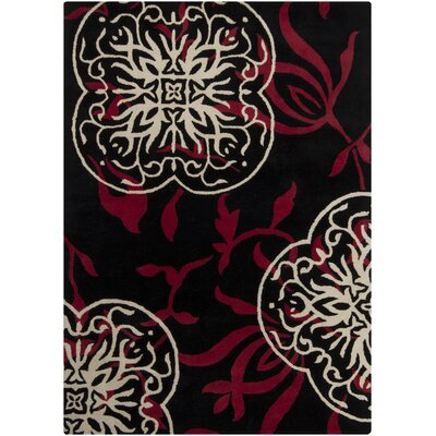 Fraher Black Area Rug Rug Size: Rectangle 5 x 7