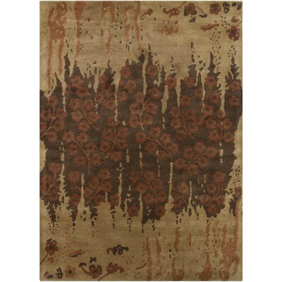 Fagor Brown Floral Rug Rug Size: Rectangle 9 x 13