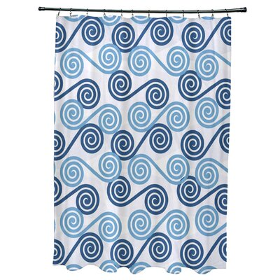 Nikkle Rip Curl Shower Curtain Color: Blue