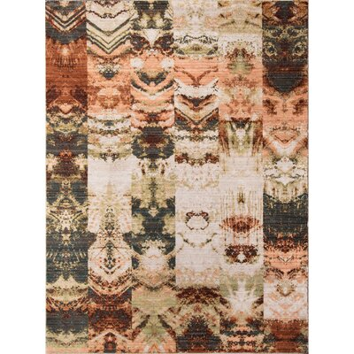Victoria Green/Brown Area Rug Rug Size: 33 x 51