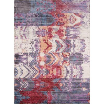 Victoria Purple/Red Area Rug Rug Size: 33 x 51