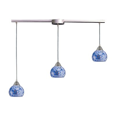 Kamina 3-Light Linear Pendant Glass Type: Starlight Blue