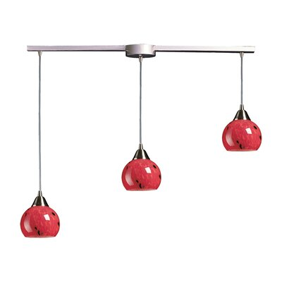 Angeletta 3-Light Linear Pendant Glass Type: Fire Red