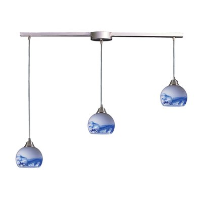 Kamina 3-Light Linear Pendant Glass Type: Mountain