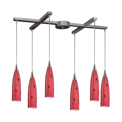 Apolline 6-Light Pendant Glass Type: Fire Red