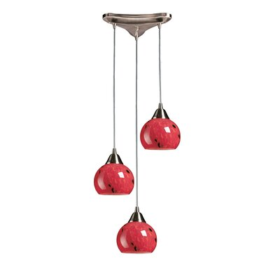 Angeletta 3-Light Pendant Glass Type: Fire Red