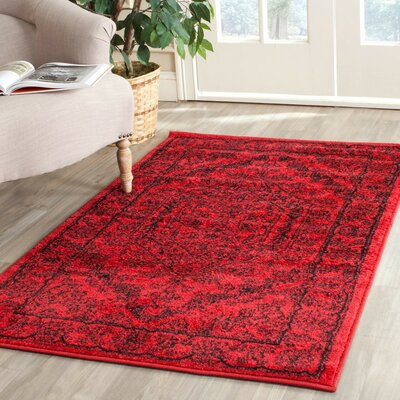 Nemisco Red/Black Area Rug Rug Size: Round 8