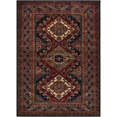 Brahim Red/Black Area Rug Rug Size: 93 x 126