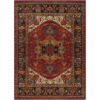 Brahim Red/Black Area Rug Rug Size: 53 x 73