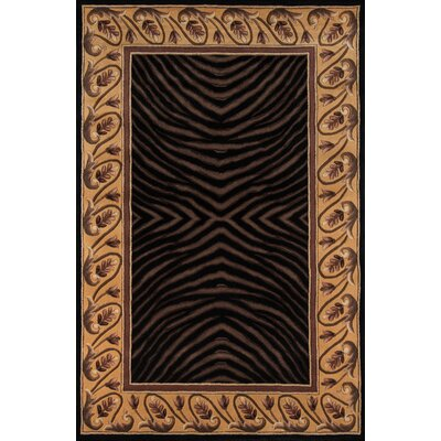 Felicity Hand-Tufted Black/Brown Area Rug Rug Size: 53 x 8