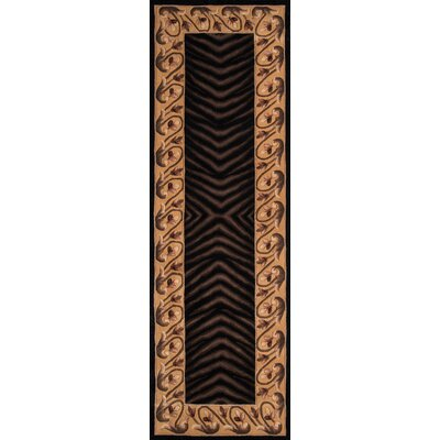Ryanne Hand-Tufted Black/Brown Area Rug Rug Size: Runner 26 x 12