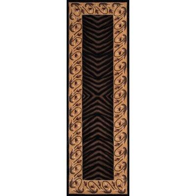 Felicity Hand-Tufted Black/Brown Area Rug Rug Size: Runner 26 x 12