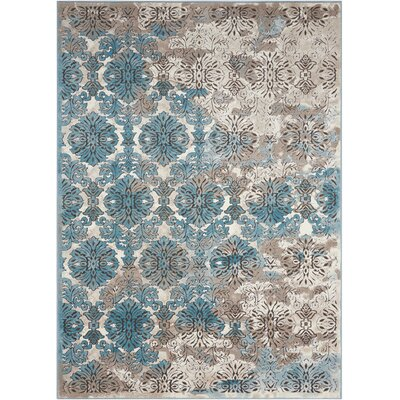 Garst Ivory/Blue Area Rug Rug Size: Rectangle 93 x 129