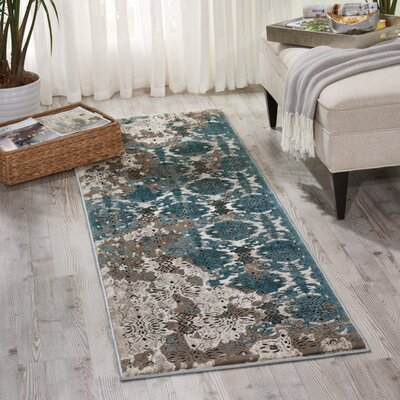 Ronbow Ivory/Blue Area Rug Rug Size: Runner 22 x 76