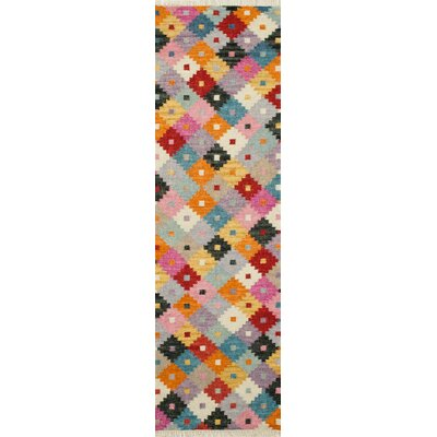 Rouidate Hand-Woven Blue/Orange Area Rug Rug Size: Runner 23 x 8