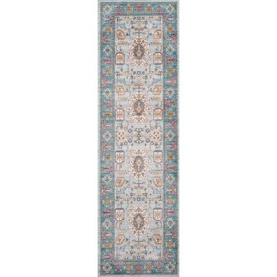 Victoria Light blue Area Rug Rug Size: Runner 23 x 8