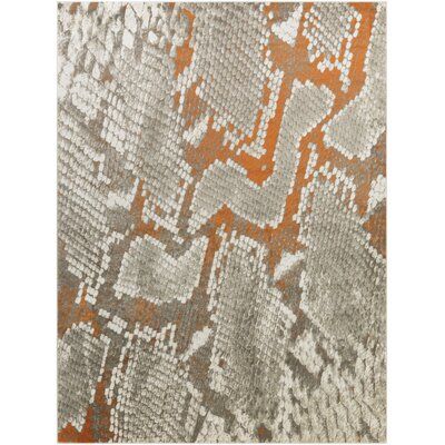 Fujii Light Gray/Orange Area Rug Rug Size: 76 x 106