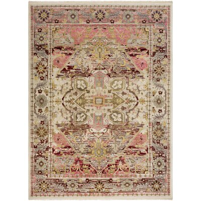 Ashok Hand-Knotted Gray/Pink Area Rug Rug Size: Rectangle 36 x 56