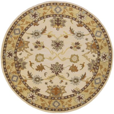 Keefer Hand-Woven Wool Beige/Tan Area Rug Rug Size: Round 6