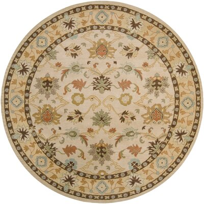 Keefer Hand-Woven Wool Beige/Tan Area Rug Rug Size: Round 8