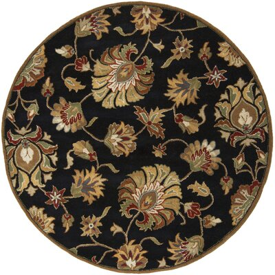 Keefer Black Area Rug Rug Size: Round 6