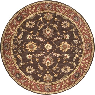 Topaz Chocolate/Tan Area Rug Rug Size: Round 8