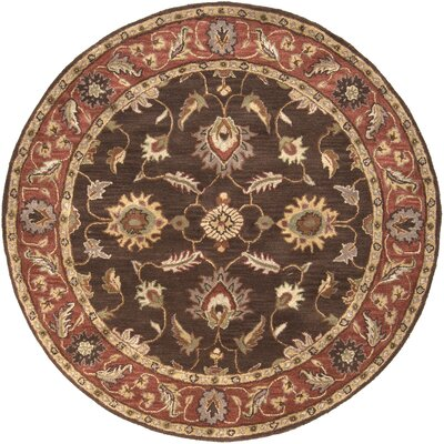 Keefer Chocolate/Tan Area Rug Rug Size: Round 6