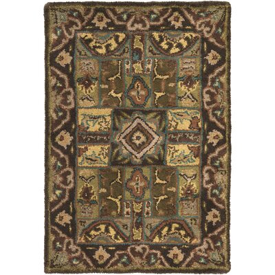 Brocade Dark Brown Area Rug Rug Size: Round 4