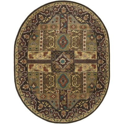 Brocade Dark Brown Area Rug Rug Size: Oval 8 x 10