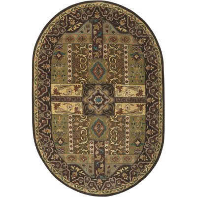 Brocade Dark Brown Area Rug Rug Size: Oval 6 x 9