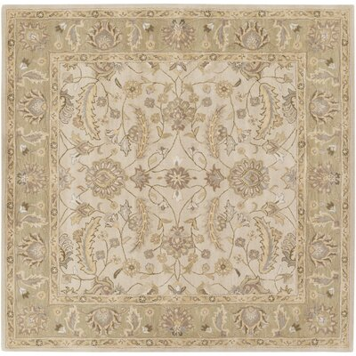Topaz  Taupe Floral Area Rug Rug Size: Square 8