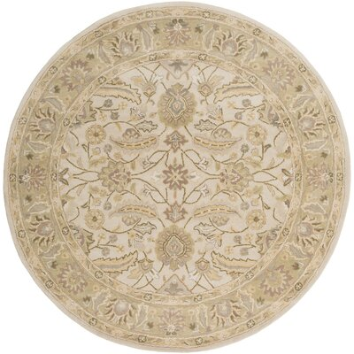 Topaz  Taupe Floral Area Rug Rug Size: Round 6