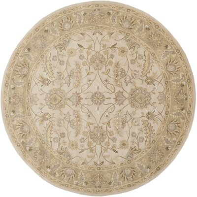 Topaz Taupe Hand-Woven Wool Area Rug Rug Size: Round 8'