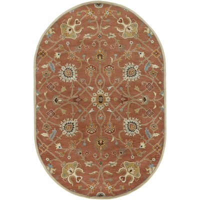 Topaz Butter Peanut Floral Area Rug Rug Size: Oval 6 x 9