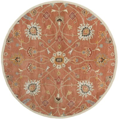 Topaz Butter Peanut Floral Area Rug Rug Size: Round 6