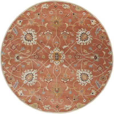 Topaz Butter Peanut Floral Area Rug Rug Size: Round 8
