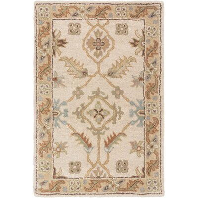 Topaz Brown/Tan Floral Area Rug Rug Size: Round 6'