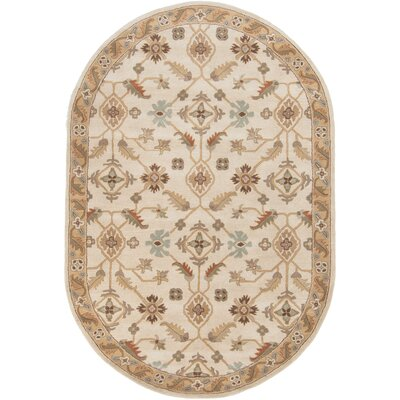 Topaz Brown/Tan Floral Area Rug Rug Size: Oval 6 x 9