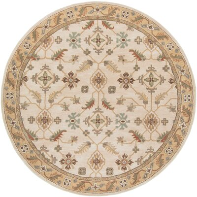 Topaz Brown/Tan Floral Area Rug Rug Size: Round 8