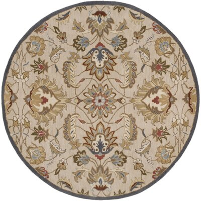 Topaz Blond Floral Area Rug Rug Size: Round 6