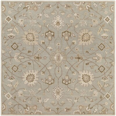 Topaz Pigeon Gray/Beige Floral Area Rug Rug Size: Square 8